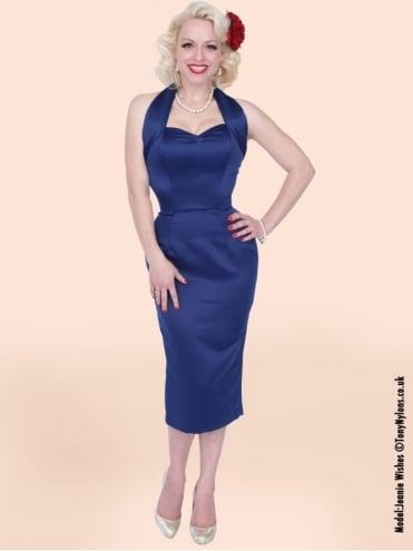 Halterneck Pencil Blueberry Duchess Dress