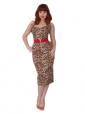 Halterneck Pencil Brown Leopard Dress