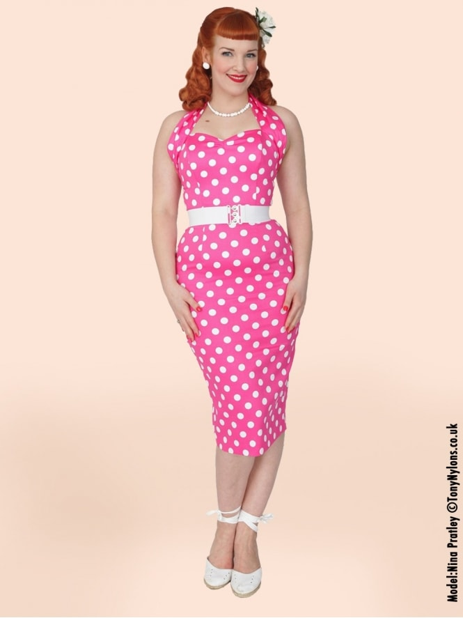 50s-1950s-Vivien-of-Holloway-Best-Vintage-Reproduction-Halterneck-Pencil-Wiggle-Dress-Pink-White-Polkadot-Rockabilly-Pinup