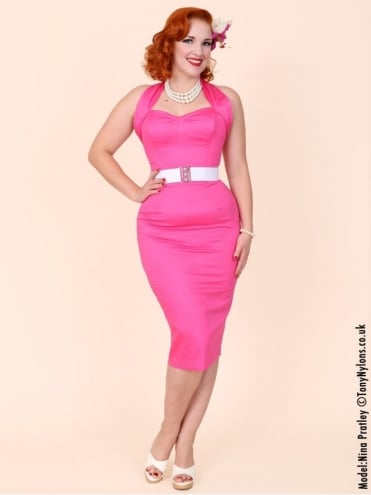 Halterneck Pencil Cerise Sateen Dress