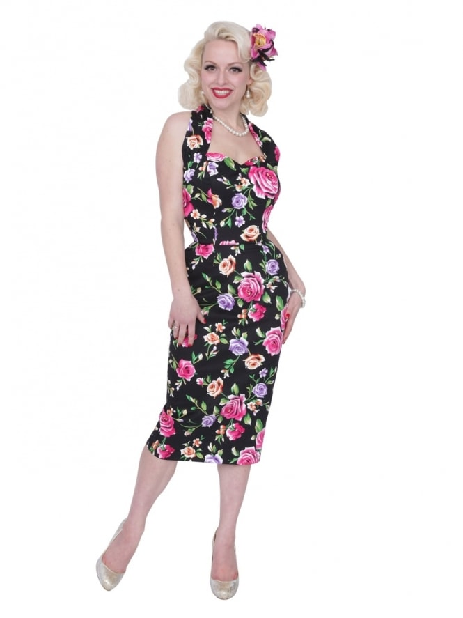 50s-1950s-Vivien-of-Holloway-Best-Vintage-Reproduction-Halterneck-Pencil-Wiggle-Dress-FloralDress-Sateen-Rockabilly-Pinup