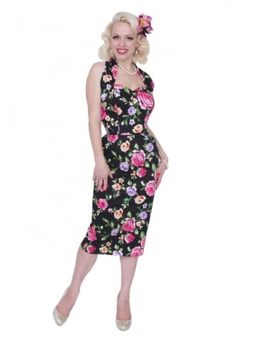 Halterneck Pencil Floral Noir Dress
