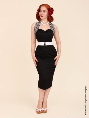 Halterneck Pencil Gingham Neck Black Dress