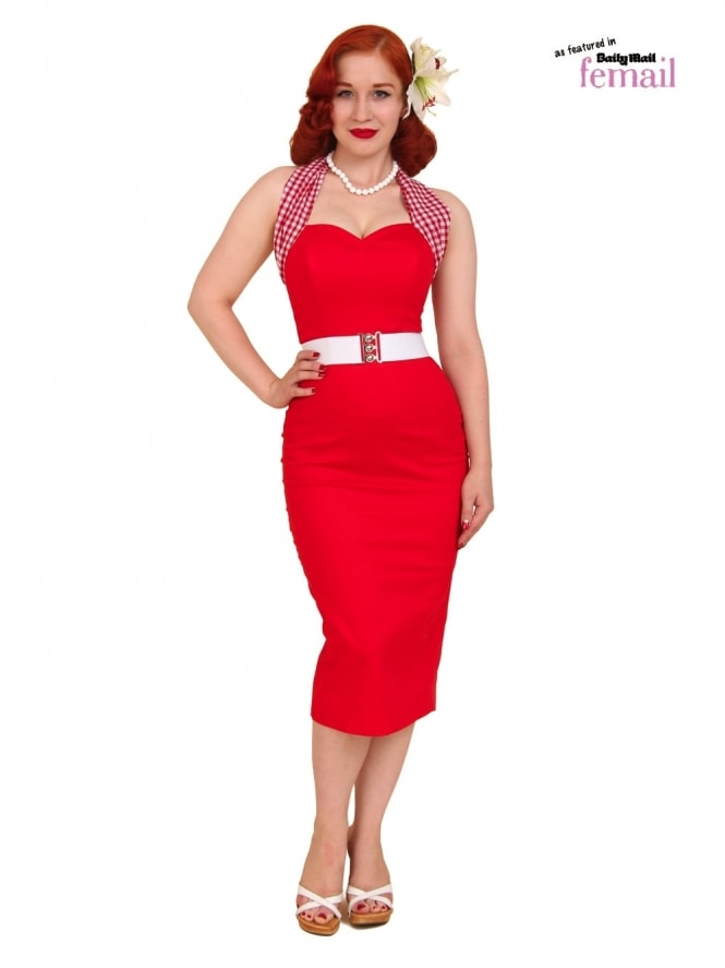 50s-1950s-Vivien-of-Holloway-Best-Vintage-Reproduction-Halterneck-Pencil-Wiggle-Dress-Red-Gingham-Check-Rockabilly-Pinup
