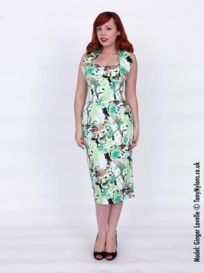 Halterneck Pencil Green Meadow Dress