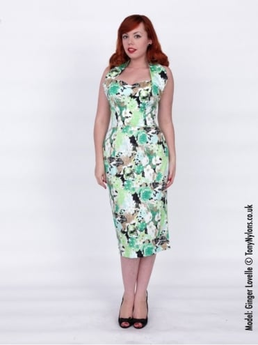 Halterneck Pencil Green Meadow Dress