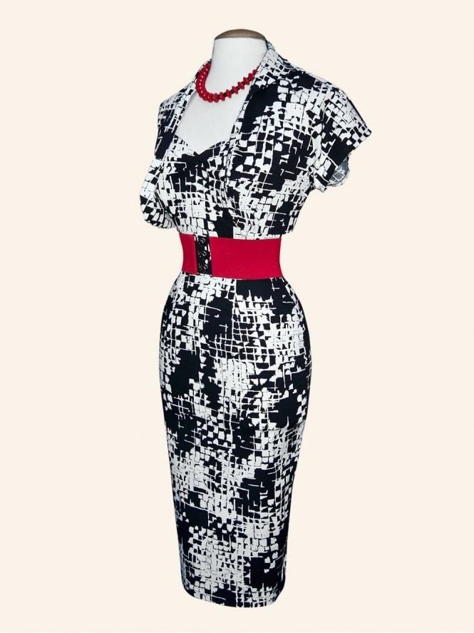 50s-1950s-Vivien-of-Holloway-Best-Vintage-Reproduction-Halterneck-Pencil-Wiggle-Dress-Set-Black-Mosaic-Print-Rockabilly-Pinup
