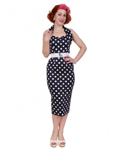 50s-1950s-Vivien-of-Holloway-Best-Vintage-Reproduction-Halterneck-Pencil-Wiggle-Dress-Navy-White-Polkadot-Rockabilly-Pinup