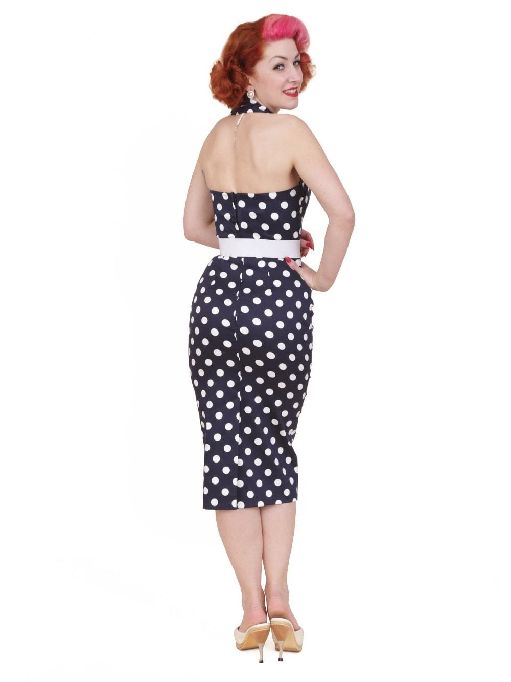 448a2f858b3e0 1950s Halterneck Pencil Navy Polkadot Dress from Vivien of Holloway