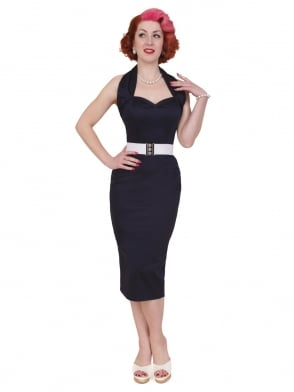 Halterneck Pencil Navy Sateen Dress