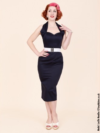 50s-1950s-Vivien-of-Holloway-Best-Vintage-Reproduction-Halterneck-Pencil-Wiggle-Dress-Navy-Cotton-Sateen-Rockabilly-Pinup