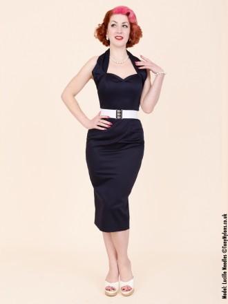 50s-1950s-Vivien-of-Holloway-Best-Vintage-Reproduction-Halterneck-Pencil-Wiggle-Dress-Navy-Cotton-Sateen-Rockabilly-Pinup