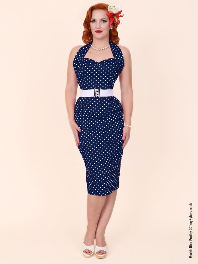 Halterneck Pencil Navy White Spot Dress