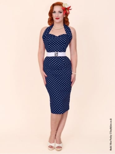 50s-1950s-Vivien-of-Holloway-Best-Vintage-Reproduction-Halterneck-Pencil-Wiggle-Dress-Navy-White-Spot-Rockabilly-Pinup