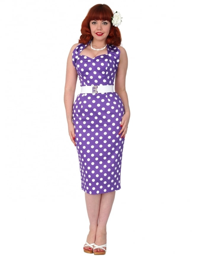 50s-1950s-Vivien-of-Holloway-Best-Vintage-Reproduction-Halterneck-Pencil-Wiggle-Dress-Purple-White-Polkadot-Rockabilly-Pinup
