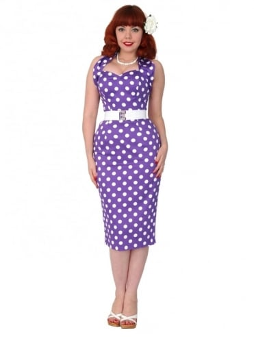 Halterneck Pencil Purple Polkadot Dress