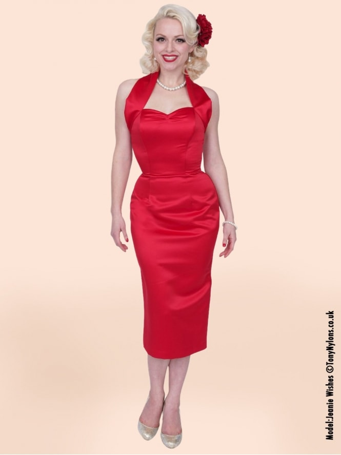 50s-1950s-Vivien-of-Holloway-Best-Vintage-Reproduction-Halterneck-Pencil-Wiggle-Dress-Red-Duchess-Satin-Rockabilly-Pinup