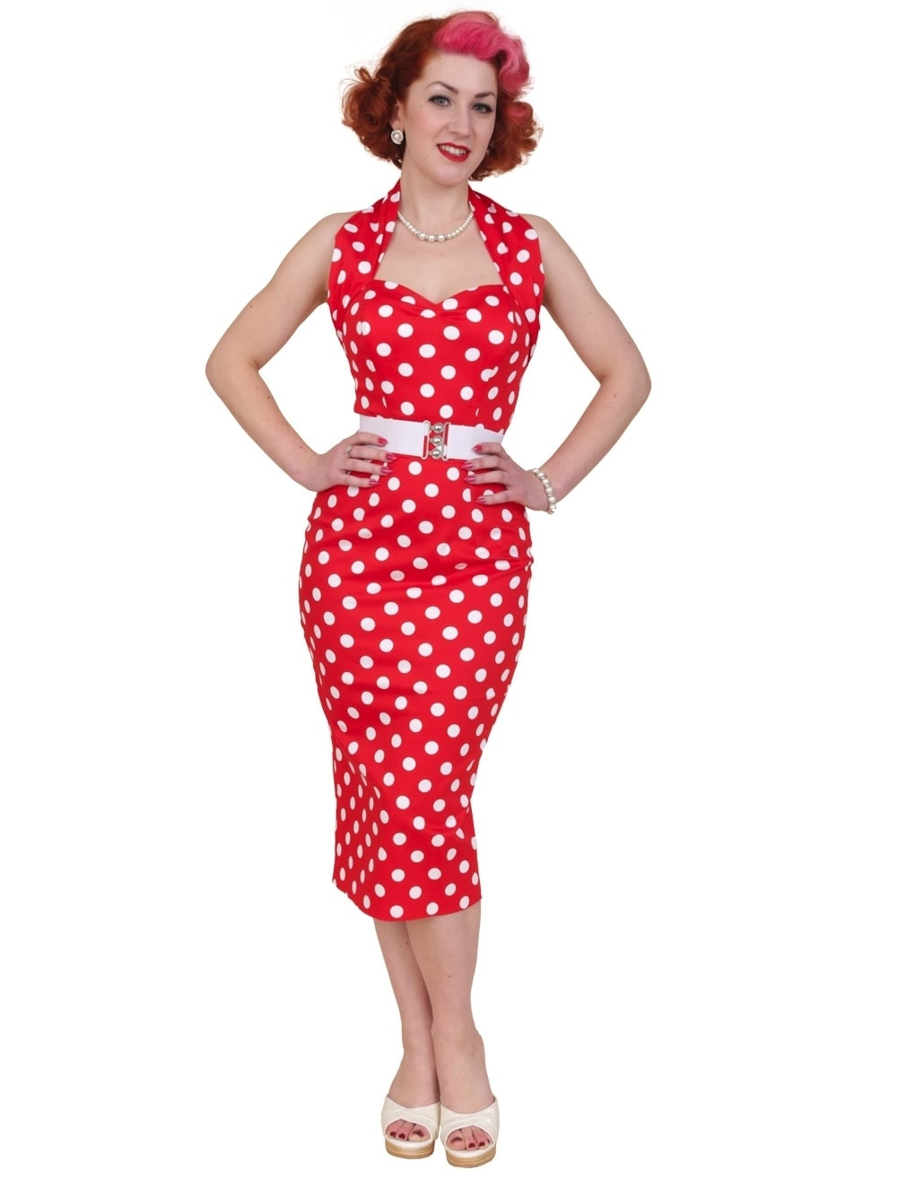 1950s Halterneck Pencil Red Polkadot Dress From Vivien Of