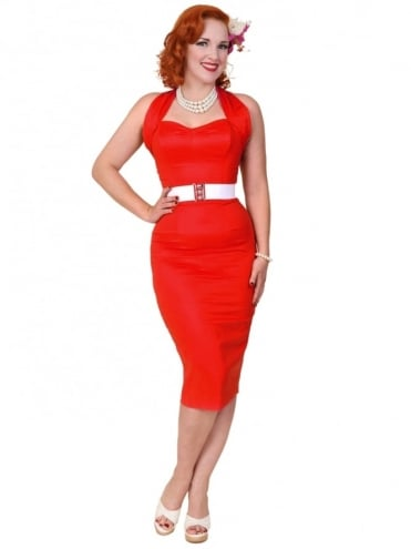 Halterneck Pencil Red Sateen Dress