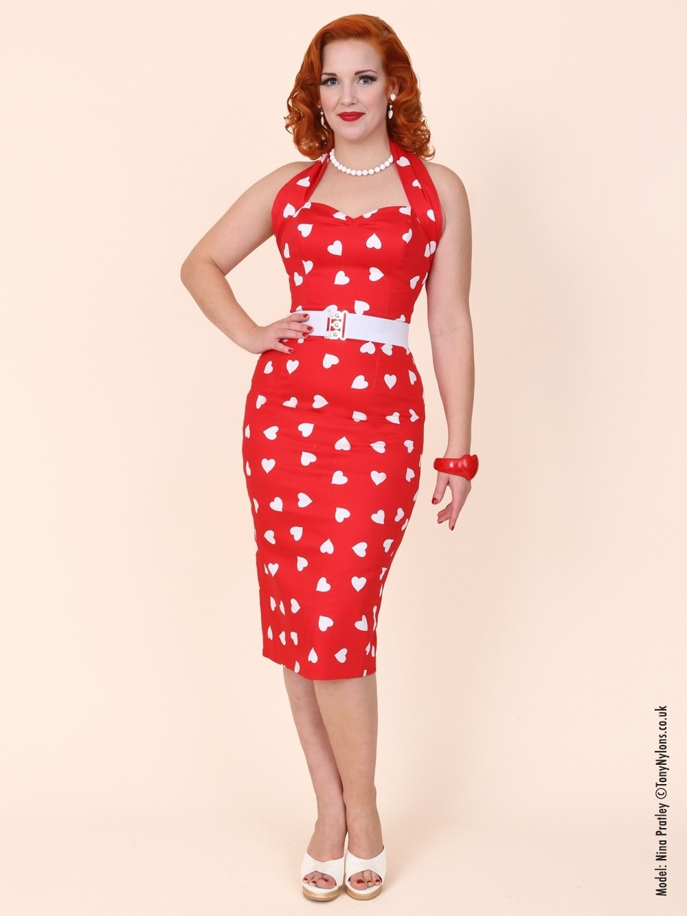 1950s Halterneck Pencil Dress Red Sweetheart From Vivien