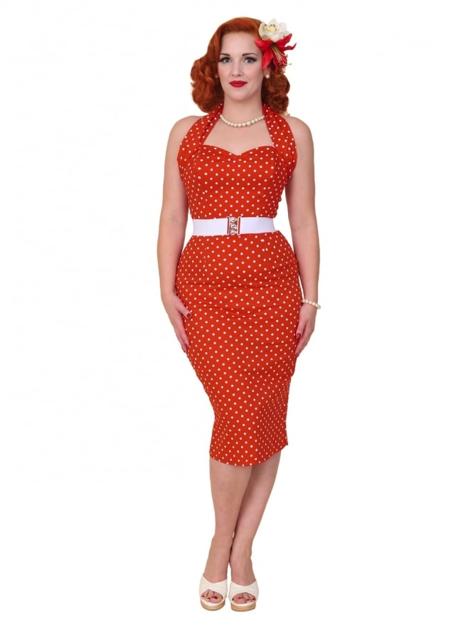 50s-1950s-Vivien-of-Holloway-Best-Vintage-Reproduction-Halterneck-Pencil-Wiggle-Dress-Red-White-Spot-Rockabilly-Pinup