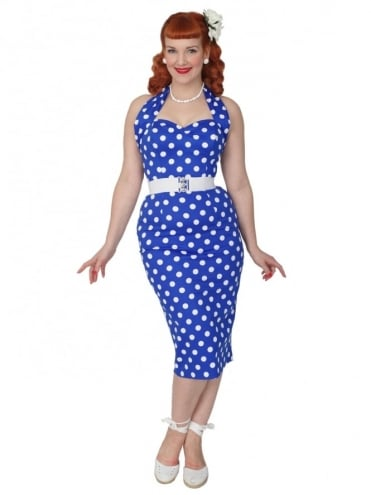 Halterneck Pencil Royal Polkadot Dress