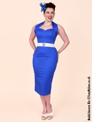 Halterneck Pencil Royal Sateen Dress