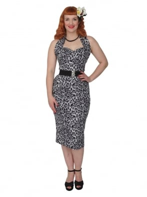 Halterneck Pencil Silver Leopard Dress