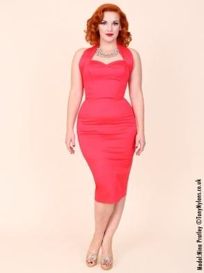 Halterneck Pencil Strawberry Pink Sateen Dress