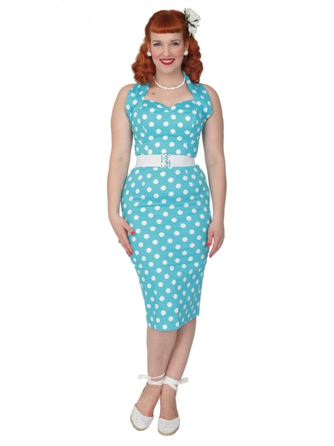 Halterneck Pencil Turquoise Polkadot Dress