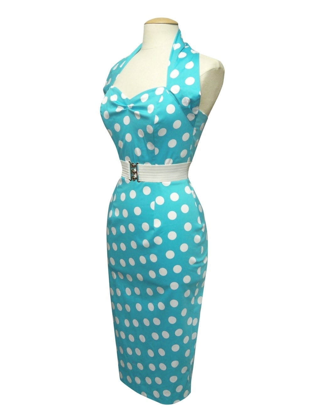 1950s Halterneck Pencil Turquoise Polkadot Dress From