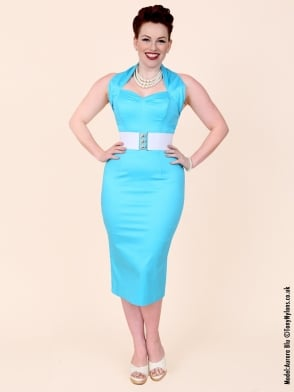 Halterneck Pencil Turquoise Sateen Dress