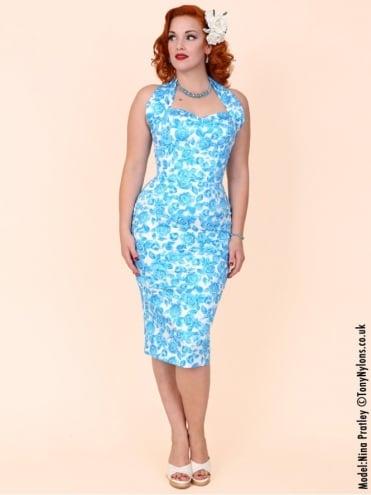 Halterneck Pencil White Blue Rose Dress
