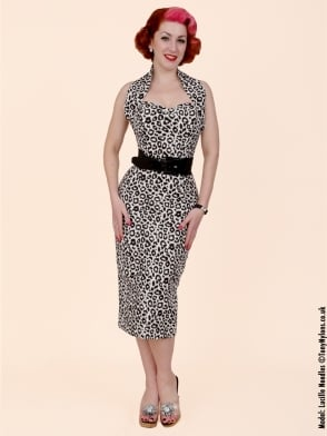 Halterneck Pencil White Leopard Dress