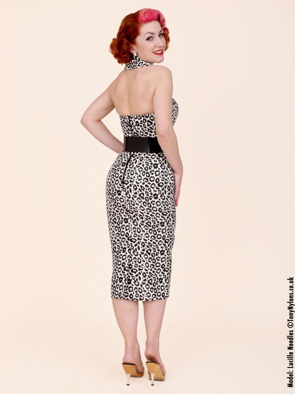967b46d73b57 1950s Halterneck Pencil White Leopard Dress from Vivien of Holloway