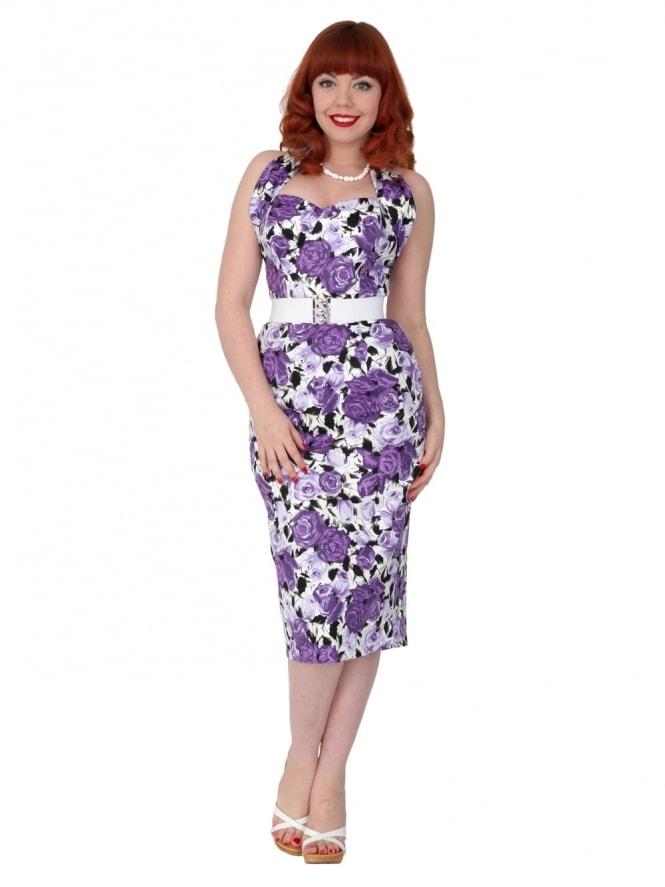Halterneck Pencil Wild Rose Purple Dress