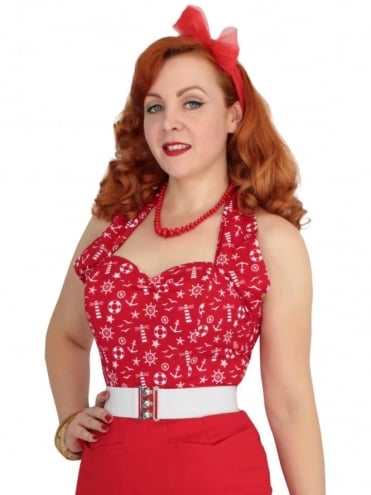50s-1950s-Vivien-of-Holloway-Best-Vintage-Style-Reproduction-Repro-Halterneck-Top-Anchor-Red-Nautical-Print-Rockabilly-Swing-Pinup