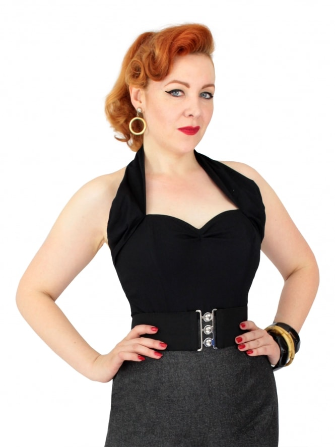 50s-1950s-Vivien-of-Holloway-Best-Vintage-Style-Reproduction-Repro-Halterneck-Top-Black-Cotton-Rockabilly-Swing-Pinup