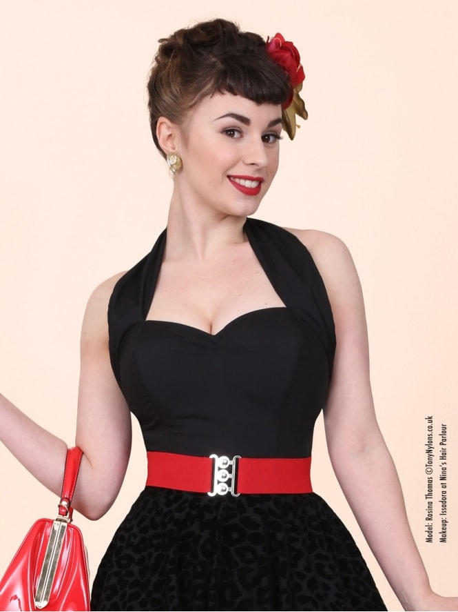 50s-1950s-Vivien-of-Holloway-Best-Vintage-Style-Reproduction-Repro-Halterneck-Top-Black-Cotton-Rockabilly-Swing-Pinup