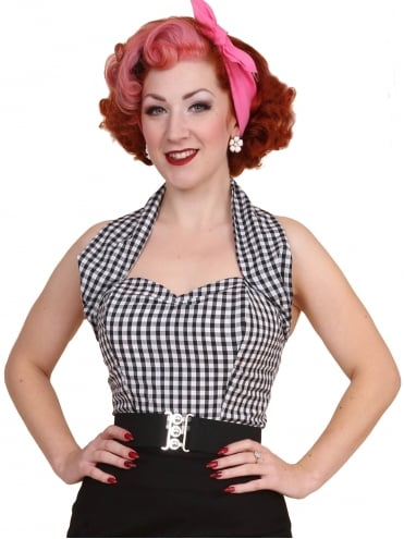 50s-1950s-Vivien-of-Holloway-Best-Vintage-Style-Reproduction-Repro-Halterneck-Black-Gingham-Cotton-Check-Rockabilly-Swing-Pinup