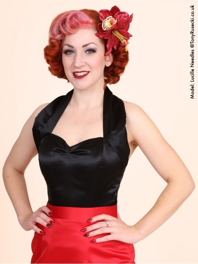 50s-1950s-Vivien-of-Holloway-Best-Vintage-Style-Reproduction-Repro-Halterneck-Top-Black-Satin-Rockabilly-Swing-Pinup