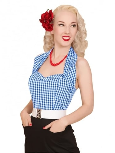 50s-1950s-Vivien-of-Holloway-Best-Vintage-Style-Reproduction-Repro-Halterneck-Blue-Gingham-Cotton-Check-Rockabilly-Swing-Pinup