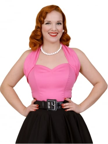 50s-1950s-Vivien-of-Holloway-Best-Vintage-Style-Reproduction-Repro-Halterneck-Top-Cerise-Pink-Cotton-Rockabilly-Swing-Pinup