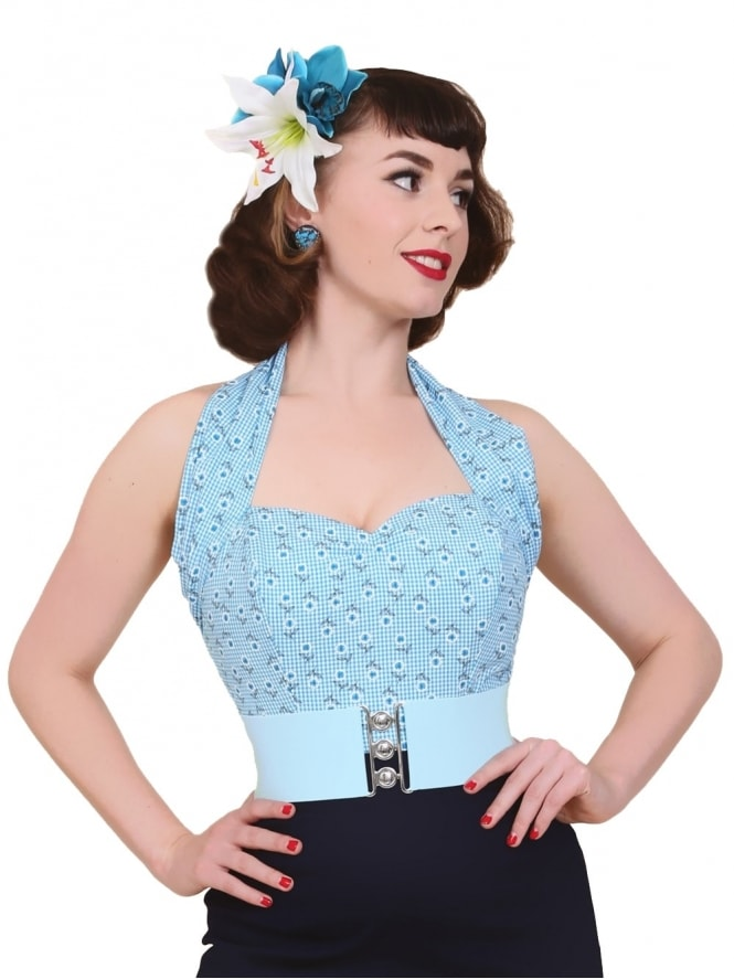 50s-1950s-Vivien-of-Holloway-Best-Vintage-Style-Reproduction-Repro-Halterneck-Top-Daisy-Gingham-Blue-Check-Floral-Rockabilly-Swing-Pinup
