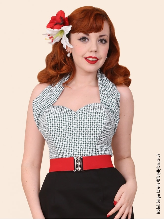 50s-1950s-Vivien-of-Holloway-Best-Vintage-Style-Reproduction-Repro-Halterneck-Top-Daisy-Gingham-Bottle-Green-Check-Floral-Rockabilly-Swing-Pinup