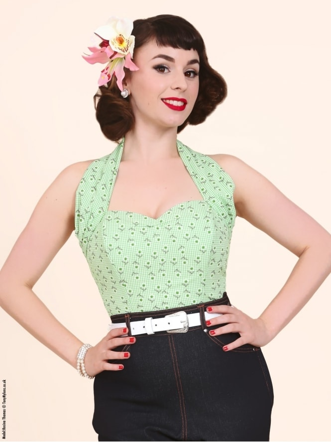 50s-1950s-Vivien-of-Holloway-Best-Vintage-Style-Reproduction-Repro-Halterneck-Top-Dasiy-Gingham-Green-Check-Floral-Rockabilly-Swing-Pinup