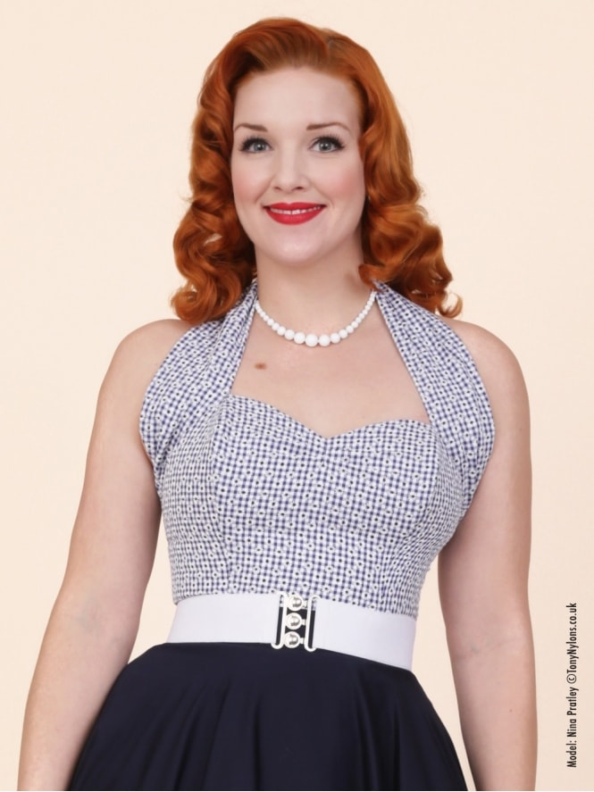 50s-1950s-Vivien-of-Holloway-Best-Vintage-Style-Reproduction-Repro-Halterneck-Top-Gingham-Navy-Blue-Check-Floral-Rockabilly-Swing-Pinup