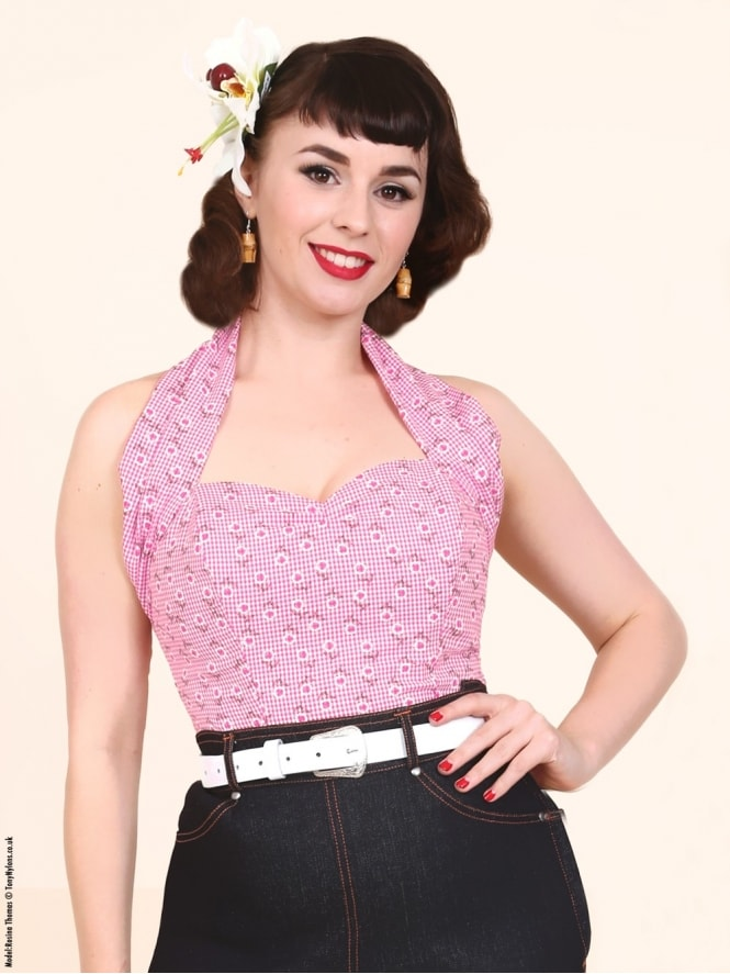 Halterneck Top Daisy Gingham Pink