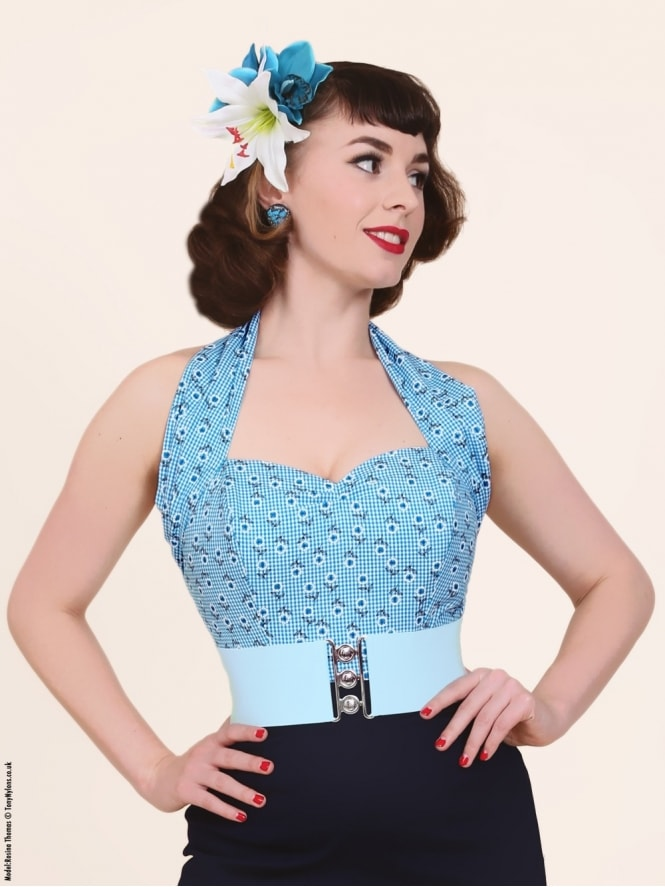 Halterneck Top Daisy Gingham Turquoise