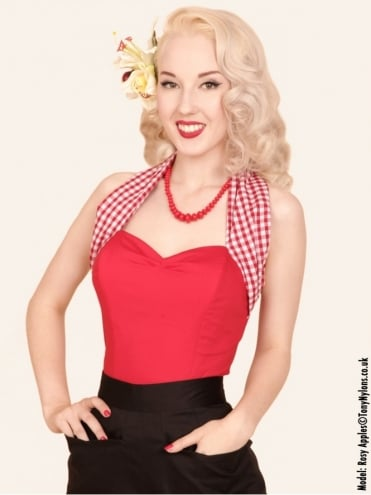 Halterneck Top Gingham Neck Red